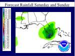 forecast rainfall saturday and sunday