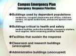 campus emergency plan emergency response priorities
