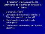 evaluaci n internacional de los est ndares de informaci n financiera chilenos