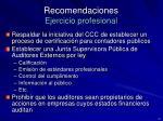 recomendaciones ejercicio profesional