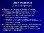recomendaciones gobierno corporativo