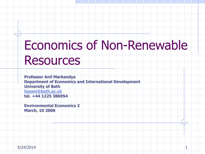 economics of non renewable resources n.
