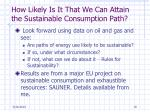 how likely is it that we can attain the sustainable consumption path