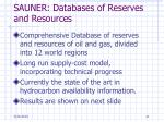 sauner databases of reserves and resources