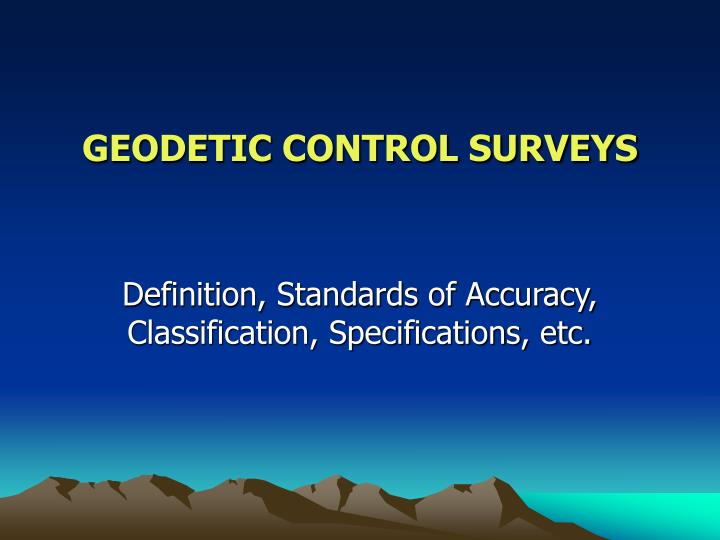 geodetic control surveys n.