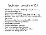 application domains of ica