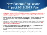 new federal regulations impact 2012 2013 year