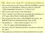 ok that was step 1 of photosynthesis