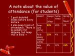 a note about the value of attendance for students