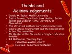 thanks and acknowledgements