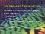 our hindu arabic numeration system