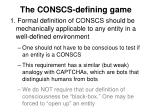 the conscs defining game