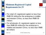 minimum registered capital requirements for jv