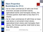 share proportion restrictions for jv 1
