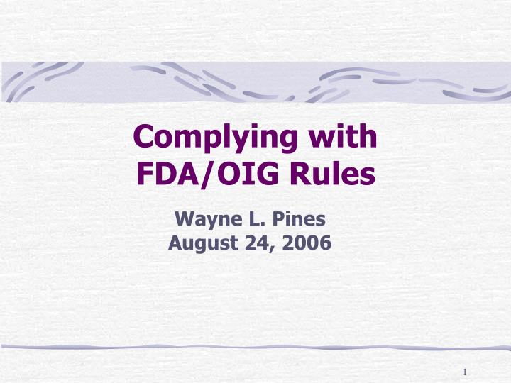 complying with fda oig rules n.