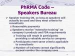 phrma code speakers bureau
