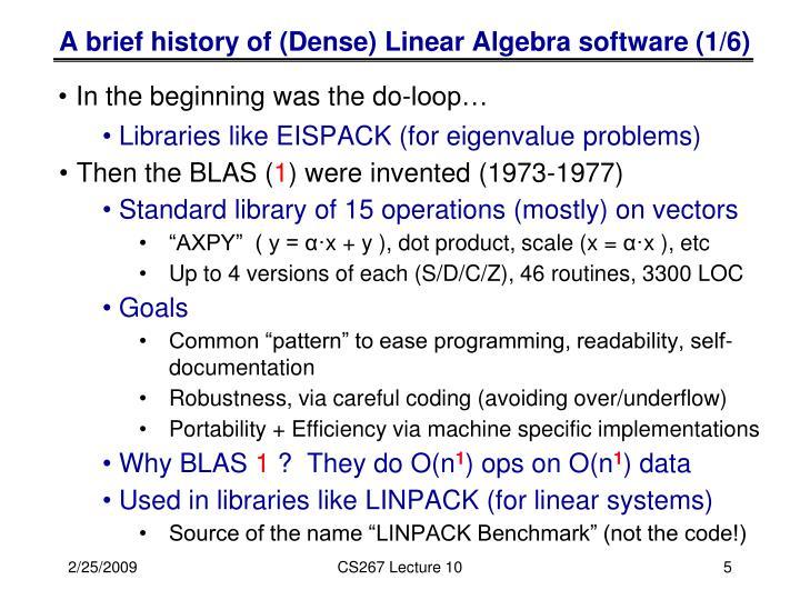 A brief history of (Dense) Linear Algebra software (1/6)