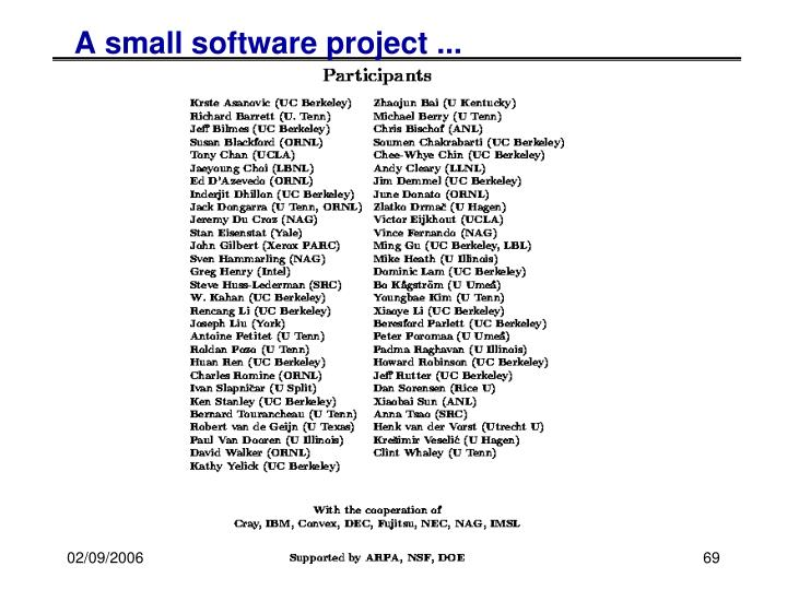 A small software project ...