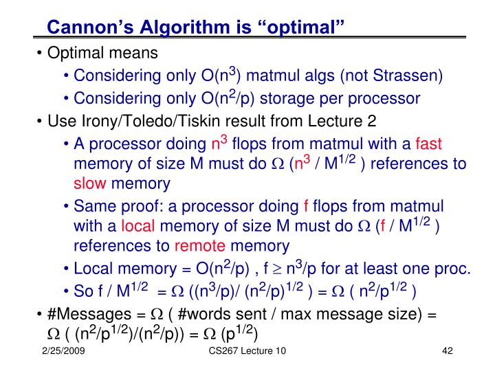 "Cannon's Algorithm is ""optimal"""