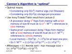 cannon s algorithm is optimal