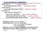 cost of cannon s algorithm