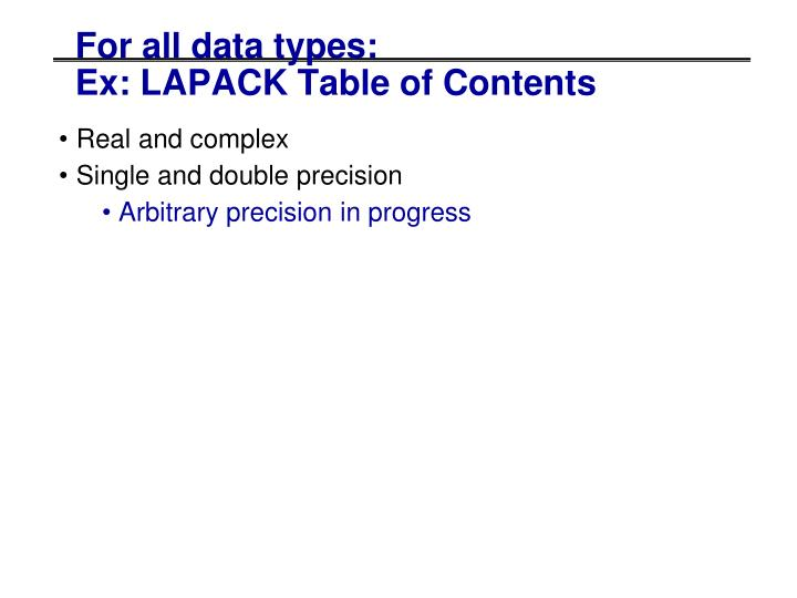 For all data types: