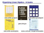 organizing linear algebra in books