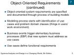 object oriented requirements continued