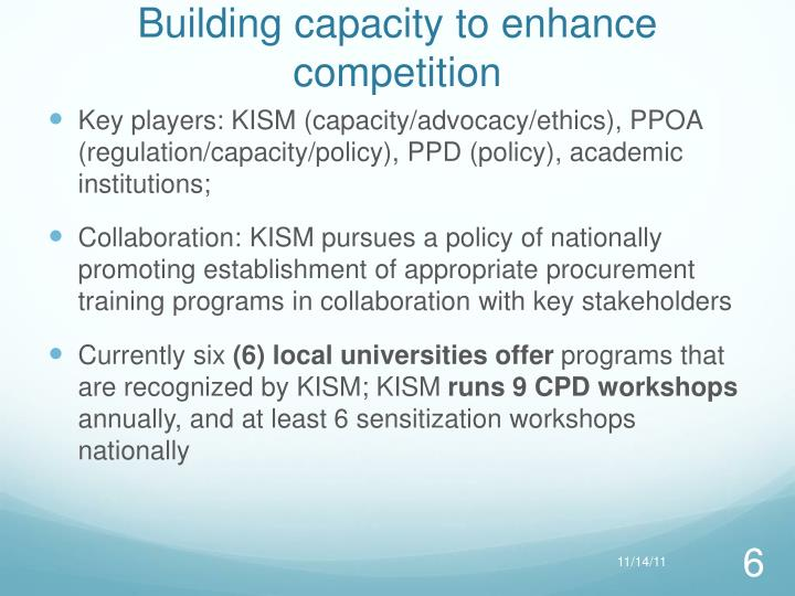 Building capacity to enhance competition