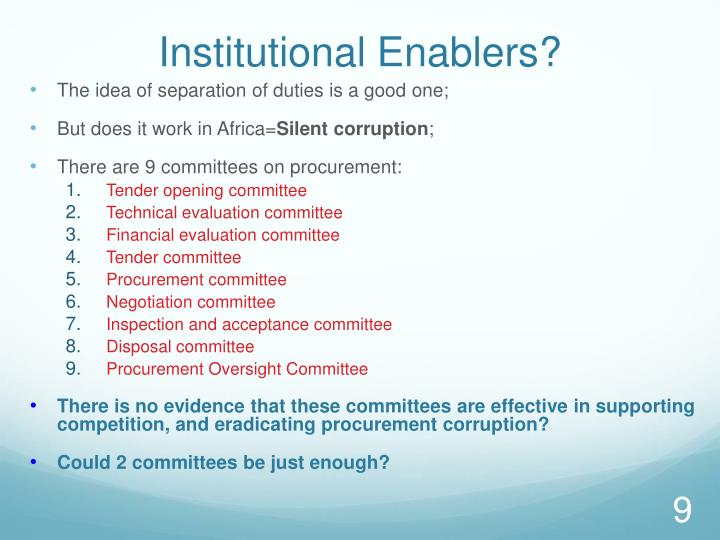 Institutional Enablers?