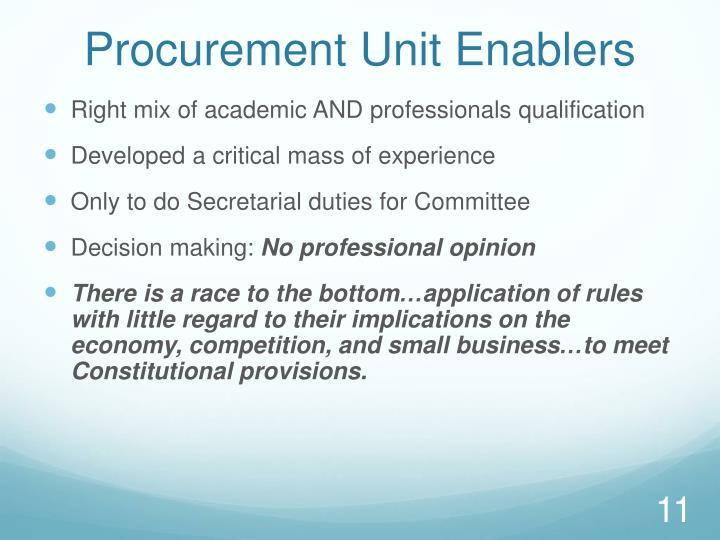 Procurement Unit Enablers