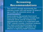 screening recommendations