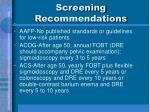 screening recommendations1