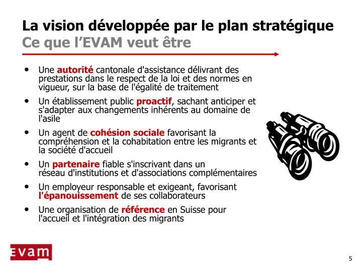 La vision développée par le plan stratégique