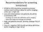 recommendations for screening tests classi
