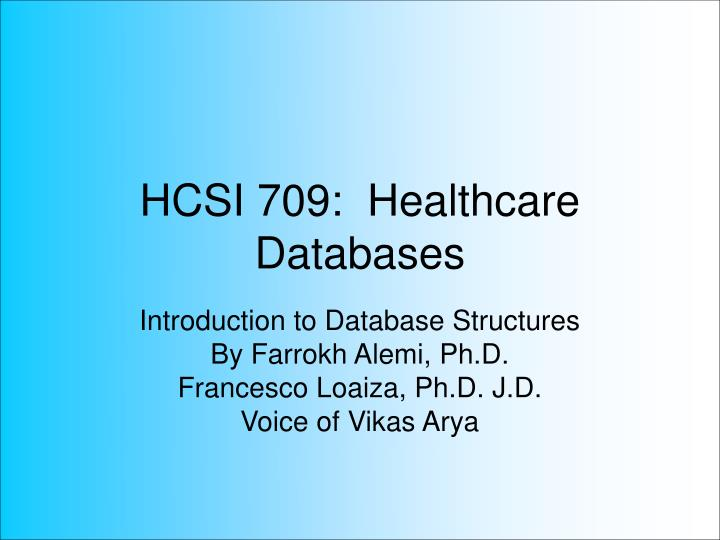hcsi 709 healthcare databases n.