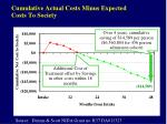 cumulative actual costs minus expected costs to society