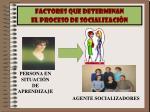 factores que determinan el proceso de socializaci n