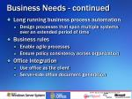 business needs continued