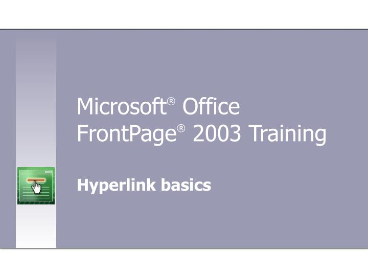 microsoft office frontpage 2003 training n.