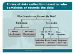 forms of data collection based on who completes or records the data