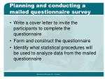 planning and conducting a mailed questionnaire survey