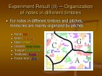 experiment result ii organization of notes in different timbres