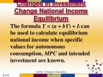 changes in investment change national income equilibrium2