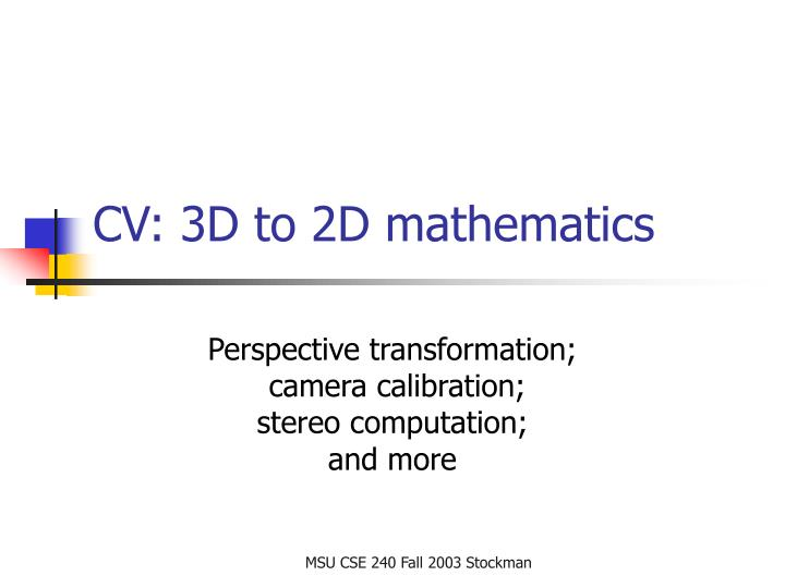 cv 3d to 2d mathematics n.