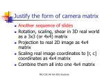 justify the form of camera matrix