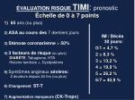 valuation risque timi pronostic chelle de 0 7 points