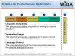 criteria for performance definitions