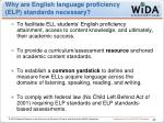 why are english language proficiency elp standards necessary