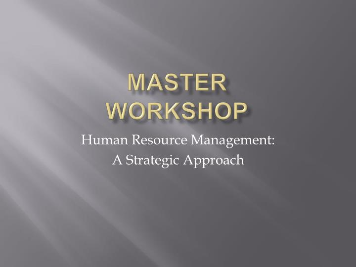 master workshop n.